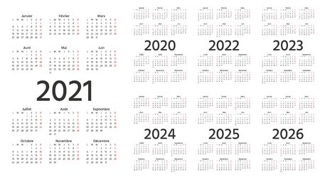 French Calendar 2021, 2022, 2023, 2024, 2025, 2026, 2020 years. Vector. Week starts Monday. France calender template. Yearly stationery organizer. Vertical, portrait orientation. Simple illustration.