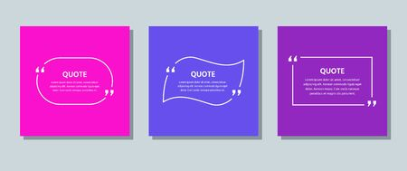 Quote frame box. Vector. Quotations text template. Info comments and messages in textboxes on color background. Colorful illustration. Set of citation with white border. Modern design. Simple concept.
