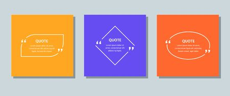 Quote frame box. Vector. Quotations text template. Info comments and messages in textboxes. Set of citation with white border on color background. Colorful illustration. Modern design. Simple concept. Vettoriali