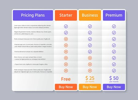 Table price plans. Comparison data template. Vector. Pricing chart grid with 3 columns. Checklist compare tariff banner. Comparative spreadsheets with options. Color illustration. Flat simple design.