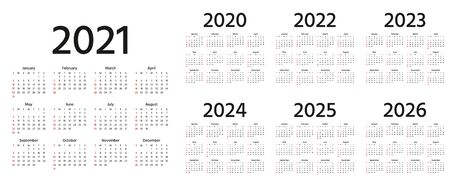 Calendar 2021, 2022, 2023, 2024, 2025, 2026, 2020 years. Vector. Week starts Sunday. Calender layout. Stationery template. Yearly organizer in minimal design, English.