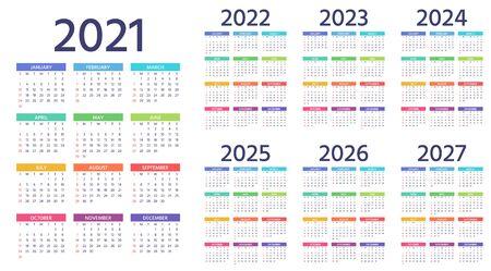 Kalender 2021, 2022, 2023, 2024, 2025, 2026, 2027 Jahre. Woche beginnt Sonntag. Einfache Jahresvorlage von Taschen- oder Wandkalendern. Jährlicher Veranstalter. Farbgestaltung des Briefpapiers. Hochformat, Englisch. Vektorgrafik