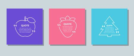 Quote frame box. Vector. Quotations text template. Set citations with white border on color background. Info comments, messages in textboxes. Simple creative concept. Modern design. Color illustration Vettoriali