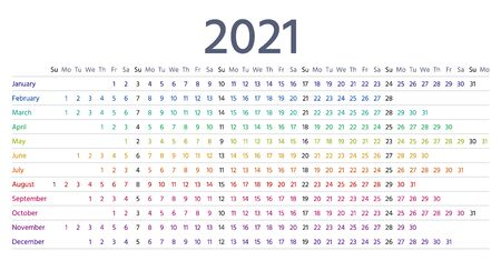 2021 calendar linear. Vector. Yearly calender planner. Schedule template 2021 year in simple style with months. Week starts Sunday. Landscape horizontal orientation, english. Isolated illustration