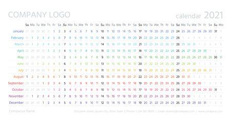 Calendrier linéaire, année 2021. Vecteur. Planificateur de calendrier annuel. Modèle de calendrier avec des mois. La semaine commence dimanche. Horizontal, orientation paysage, anglais. Organisateur d'agenda. Illustration de couleur simple.