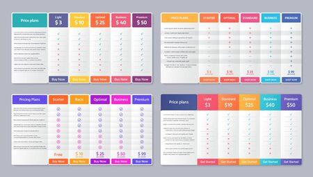 Table price template. Vector. Comparison plan chart. Set pricing data grid with 5 columns. Comparative spreadsheet with options. Checklist compare tariff banner. Color illustration. Flat simple design