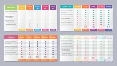 Table price template. Vector. Pricing data grid with 5 column. Set Comparison plan chart. Comparative spreadsheets with options. Checklist compare tariff banner. Color illustration. Flat simple design