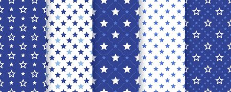 Star seamless pattern. Vector.  Backgrounds with stars. Set abstract geometric textures. Cute navy blue prints. Holiday patriotic simple wallpaper. Color illustration. Vettoriali