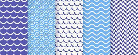 Wave seamless pattern. Vector. Blue wavy background. Set textures with stripes, tides and rollers. Simple illustration. Sea geometric prints. Marine, nautical design.