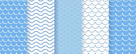 Wave seamless pattern. Vector. Blue wavy background. Set marine textures. Simple illustration. Sea geometric prints with stripes, tides and rollers. Nautical design.