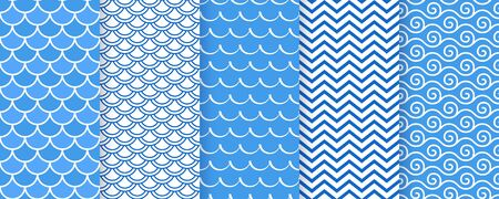 Wave seamless pattern. Vector. Sea wavy background. Set marine textures. Blue geometric prints. Simple illustration. Nautical modern design. Vettoriali
