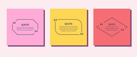 Quote frame box. Vector. Quotations text template. Info comments and messages in textboxes. Set citation with black border. Colorful illustration. Modern design. Simple concept