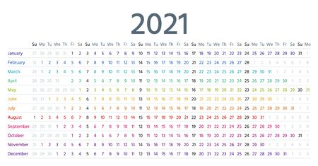 Linear calendar for 2021 year. Vector. Template grid planner. Yearly calender. Schedule with months. Week starts Sunday. Simple style. Landscape horizontal orientation, english. Isolated illustration