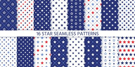 Star seamless pattern. Vector. Set of textures with pentagonal stars. Abstract geometric backgrounds. Cute navy blue and red prints. Festive patriotic simple wallpaper. Color illustration. Vettoriali