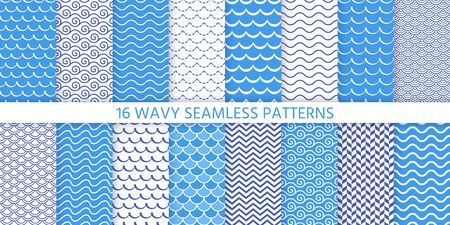 Wave seamless pattern. Vector. Blue wavy background. Set textures with stripes, tides and rollers. Sea geometric prints. Marine, nautical design. Simple modern illustration.