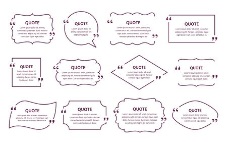 Quote text box. Vector. Quotations frame. Decorative vintage templates. Speech bubbles. Set of info comments and messages in textboxes on white background. Simple retro illustration in line style.  Vettoriali