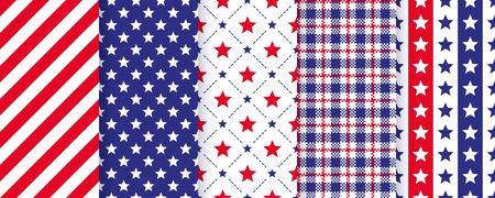 Patriotic seamless pattern. 4th July backgrounds. Vector.  Happy independence textures. Set of holiday geometric prints with stars, stripes and plaid. Simple modern endless illustration. Vettoriali