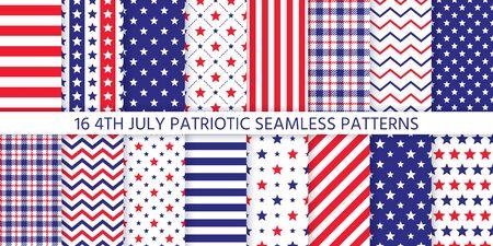 4. Juli nahtloses Muster. Patriotische Drucke. Vektor. Happy Independence Day Texturen mit Sternen, Streifen, Zickzack und Plaid. Satz von geometrischen Hintergründen der USA-Flagge. Einfache moderne Illustration. Vektorgrafik