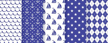 Nautical seamless pattern. Vector. Sea backgrounds with sailboat, anchor, star, waves and rhombuses. Set marine summer textures. Geometric blue print for baby shower, scrapbooking. Color illustration