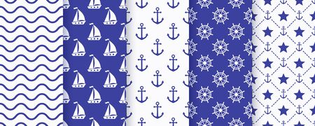 Nautical seamless pattern. Sea navy blue backgrounds with yacht, anchor, star, waves and wheel. Vector. Set marine textures. Geometric print for baby shower, scrapbooking. Monochrome illustration