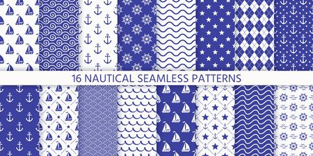 Nautical seamless pattern. Sea navy blue backgrounds with yacht, anchor, star, waves, wheel. Vector. Set marine summer textures. Geometric print for baby shower, scrapbooking. Monochrome illustration Vettoriali