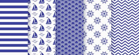 Nautical seamless pattern. Sea navy blue backgrounds with sailboat, waves, zigzag, stripe and wheel. Vector. Set marine textures. Geometric print for baby shower, scrapbooking. Monochrome illustration Vettoriali