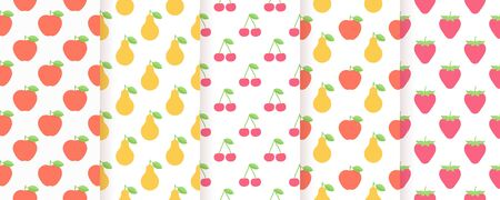 Fruit seamless patterns. Vector. Summer prints with strawberry, apple, pear and cherry. Set abstract simple textures. Flat illustration. Vettoriali