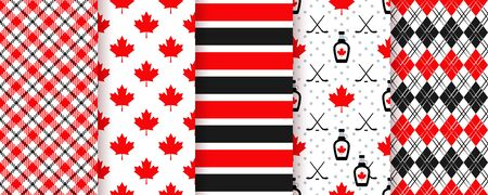 Canada seamless pattern. Vector. Happy Canada day textures with maple leaf, stripe, syrup, hockey stick, plaid and rhombuses. Set of Canadian prints. Red black illustration.