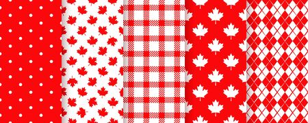 Canada seamless pattern. Vector. Happy Canada day textures with maple leaf, polka dots, plaid and rhombuses. Set of Canadian prints. Red white illustration. Holiday wrapping paper. Vettoriali