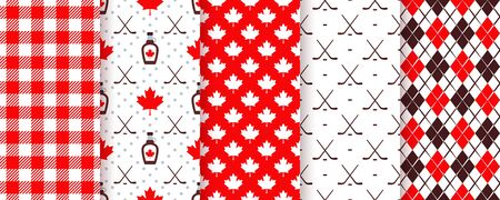 Canada seamless pattern. Vector. Backgrounds with maple leaf, hockey sticks, syrup, rhombus and checkered. Happy Canada day texture. Set Canadian prints. Red brown illustration. Holiday wrapping paper