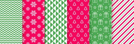 Xmas seamless pattern. Vector. Christmas, New year prints. Backgrounds with zigzag, snowflake, candy cane stripes, tree, star, triangle. Set of textures. Festive wrapping paper. Red green illustration