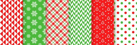 Xmas seamless pattern. Vector. Christmas, New year print. Backgrounds with snowflake, polka dot, tree, herringbone, triangle and checkered. Set textures. Festive wrapping paper. Red green illustration