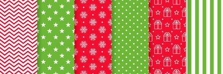 Christmas seamless pattern. Vector. Xmas New year backgrounds. Prints with zigzag, star, snowflake, polka dot, gifts and stripes. Set holiday textures. Festive wrapping paper. Red green illustration