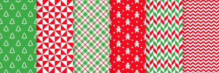 Christmas seamless pattern. Vector. Prints with tree, triangle, zigzag, gingerbread man, plaid and herringbone. Xmas New year backgrounds. Set textures. Festive wrapping paper. Red green illustration