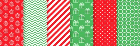 Xmas seamless pattern. Vector. Christmas, New year prints. Backgrounds with zigzag, ball, gift, candy cane stripes and polka dot. Set holiday textures. Festive wrapping paper. Red green illustration