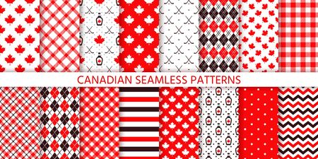 Canada seamless pattern. Vector. Backgrounds with maple leaf, hockey sticks, syrup, polka dot, rhombus and checkered. Happy Canada day texture. Set Canadian prints. Red brown illustration.  Vettoriali