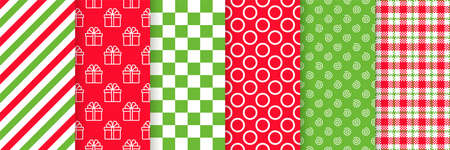Christmas seamless pattern. Vector. Prints with gift box, candy cane stripe, square, checkered and swirls. Xmas New year backgrounds. Set textures. Festive wrapping paper. Red green illustration 矢量图像