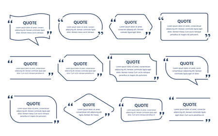 Quote text box. Template frame quotations. Vector illustration. Speech bubbles. Illustration