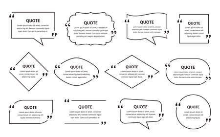 Quote text box. Quotations frame. Vector. Set of info comments and messages in textboxes. Speech bubbles on white background. Illustration in line art style. Simple minimalistic design.