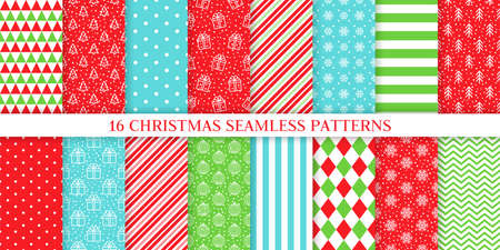 Christmas seamless pattern. Vector. Xmas, New year textures. Backgrounds with ball, tree, gift box, snowflake, candy cane stripe, plaid. Set noel prints. Festive wrapping paper. Red green illustration Illustration