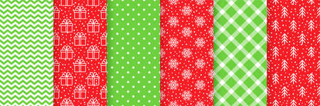 Xmas seamless pattern. Vector. Christmas, New year print. Backgrounds with gift box, snowflake, tree, zig zag, polka dot and plaid. Set textures. Festive wrapping paper. Red green illustration
