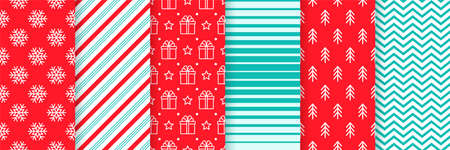 Christmas seamless backgrounds. Vector. Xmas New year pattern. Prints with candy cane stripe, snowflake, gift box, tree and zigzag. Set festive textures. Holiday wrapping paper. Red green illustration Illustration
