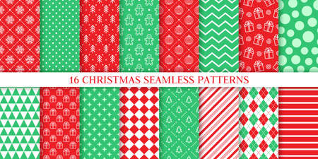 Xmas seamless pattern. Vector. Christmas prints with tree, snowflake, stripe, ball, polka dot, gingerbread man. New year background. Set festive texture. Festive wrapping paper. Red green illustration Ilustração