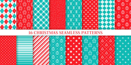 Christmas seamless pattern. Vector. Xmas, New year texture. Backgrounds with gingerbread man, tree, snow, plaid, ball, star, stripes, rhombus. Set prints. Festive wrapping paper. Red blue illustration