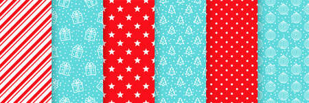 Xmas seamless pattern. Vector. Christmas, New year print. Backgrounds with gift box, tree, ball, candy cane stripe, polka dot and star. Set textures. Festive wrapping paper. Red blue illustration Ilustração