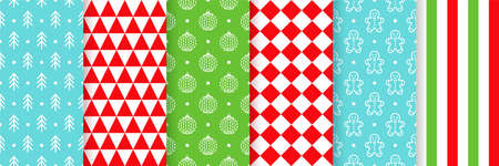 Christmas seamless pattern. Vector. Xmas New year background. Prints with tree, ball, triangle, gingerbread man, stripe and checkered. Set textures. Festive wrapping paper. Red green blue illustration Ilustração
