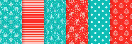 Christmas seamless backgrounds. Vector. Xmas New year pattern. Prints with snowflake, gift box, tree, stripes, ball and polka dot. Set festive textures. Holiday wrapping paper. Red blue illustration Ilustração