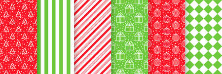 Christmas seamless pattern. Vector. Xmas New year backgrounds. Prints with tree, stripes, snow, gift box, balls and checkered. Set holiday textures. Festive wrapping paper. Red green illustration