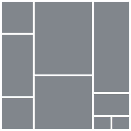 Photo collage grid. Mood board square template. Vector. Moodboard design. Gray pictures on white background. Mosaic frame banner. Photography album layout. Branding presentation. Simple illustration