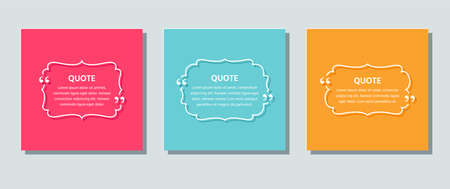 Quote text box. Quotations template. Decorative vintage frames on color background. Vector. Set of info comments and messages in textboxes. Colorful retro illustration in line style. Ilustração